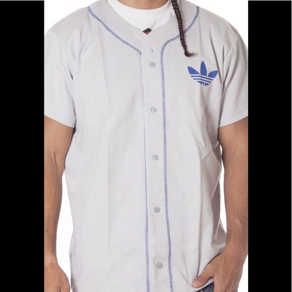 Adidas White Baseball Jersey button down X-Large